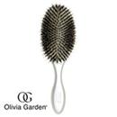 珍珠银热能陶瓷离子椭圆按摩护发板梳 -美国奥丽维亚-